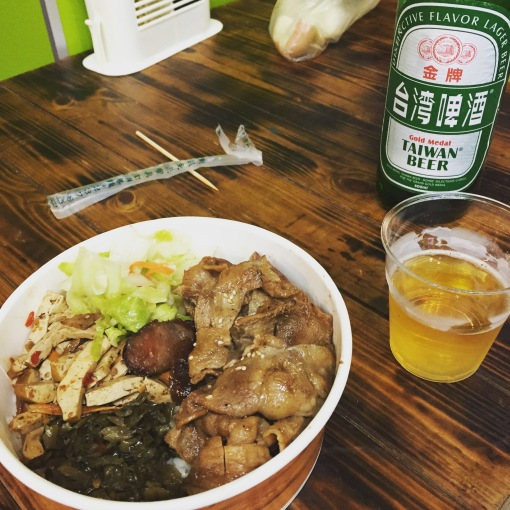 First meal in Taipei: Beef, veggies and other goodness